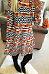 Halloween Pumpkin Round Neck  Printed Wave Stripe Casual Dresses