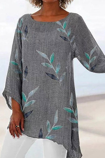 Round Neck Loose-Fitting Leaves Printed Casual T-Shirt
