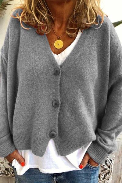 Casual V Neck Long Sleeve Plain Sweater