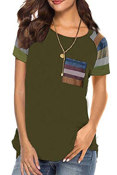 Round Neck Color Block Short Sleeve T-shirt