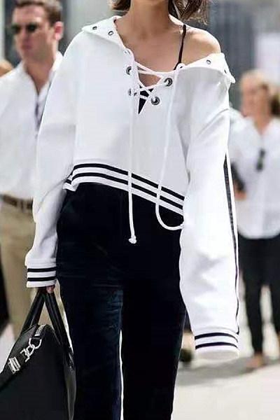 Casual Lace-Up Long Sleeve Sweatshirt