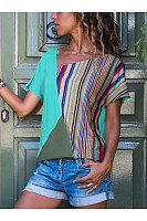 Casual Stripe Contrast Color Short Sleeve T-Shirt