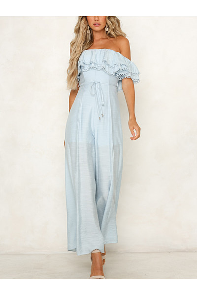 Sexy Off Shoulder Ruffled Lace-Up Slim Jumpsuit