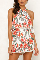 Halter  Printed  Sleeveless  Playsuits