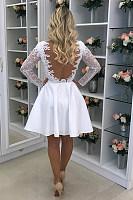 Round Neck  Backless  Plain  Long Sleeve Skater Dresses