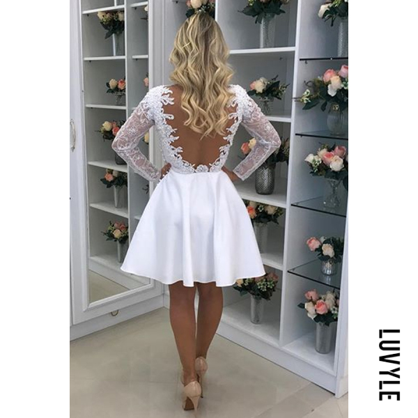 White Round Neck Backless Plain Long Sleeve Skater Dresses White Round Neck Backless Plain Long Sleeve Skater Dresses