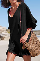 V Neck  Plain  Half Sleeve Casual Dresses