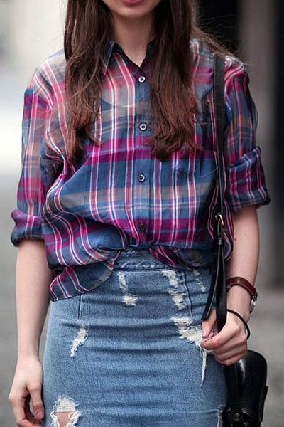 A Lapel Plaid Long Sleeve Casual Blouse