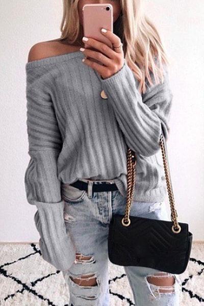 Open Shoulder Collar Plain Casual Sweater