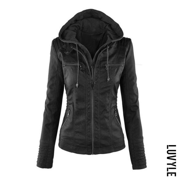 Black Fashion Zipped Jacket With Removable Hood