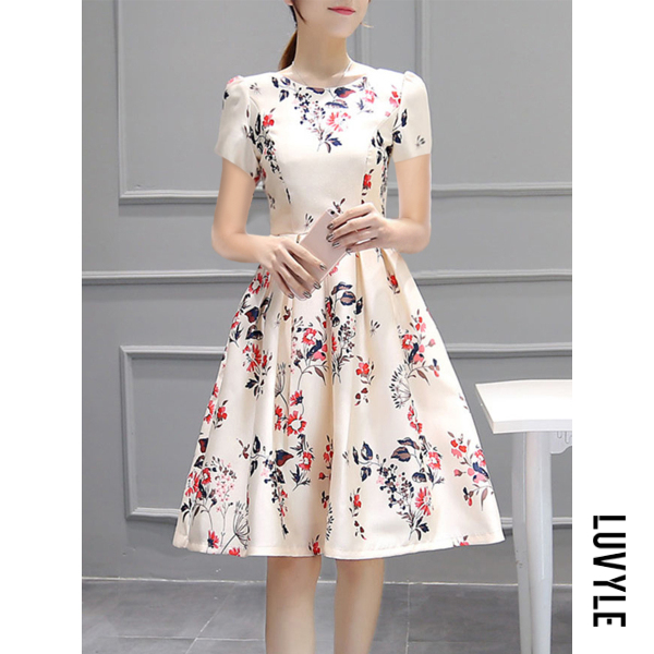 Beige Inverted Pleat Floral Printed Puff Sleeve Round Neck Skater Dress Beige Inverted Pleat Floral Printed Puff Sleeve Round Neck Skater Dress