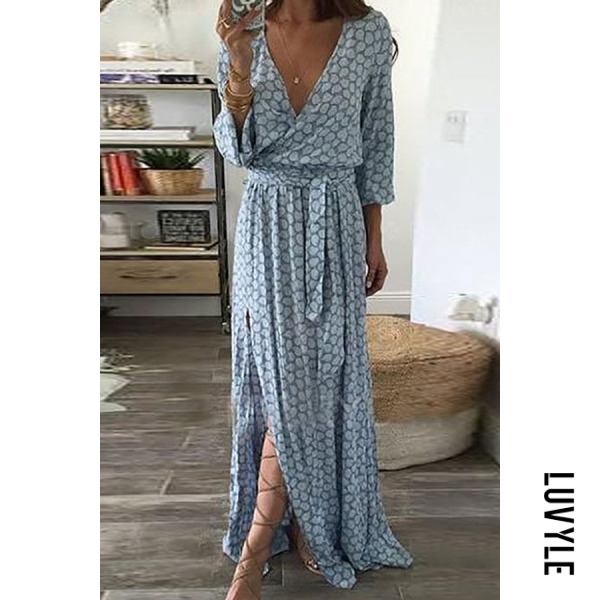 Blue V Neck Belt Printed Maxi Dresses Blue V Neck Belt Printed Maxi Dresses