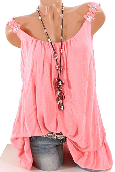 Plain Two-piece Sleeveless T-shirt