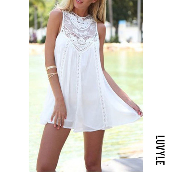 White Round Neck Patchwork Hollow Out Casual Dresses White Round Neck Patchwork Hollow Out Casual Dresses