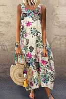 Round Beck Sleeveless Floral Casual Dress