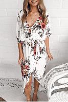 Fashion Floral Print Irregular Maxi Dress
