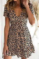 Deep V Neck  Leopard  Short Sleeve Casual Dresses