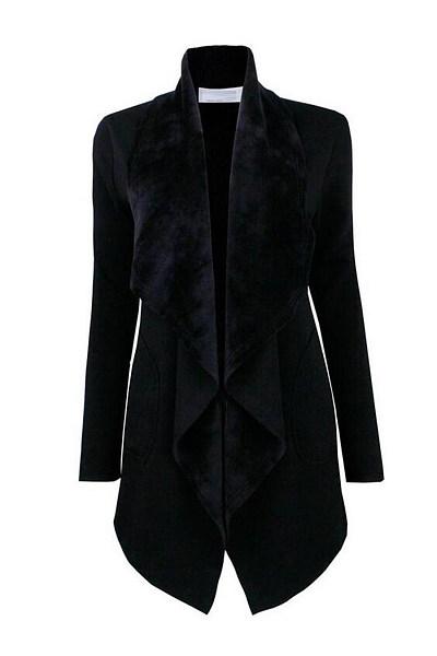 Lapel  Patch Pocket  Plain Coat