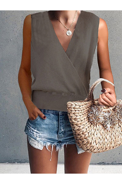 Deep V Long Sleeve Solid Color Knit T-Shirt