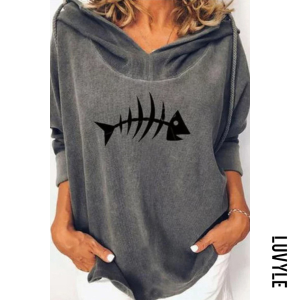 Gray Fish Long Sleeve Loose Hoody Gray Fish Long Sleeve Loose Hoody