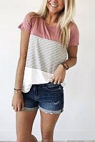 Round Neck  Asymmetric Hem  Patchwork T-Shirts
