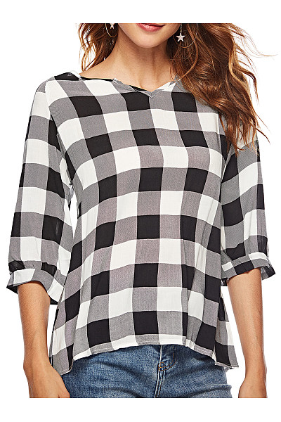 V Neck  Loose Fitting  Checkered Blouses