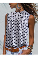 V Neck  Loose Fitting  Dot Sleeveless T-Shirts
