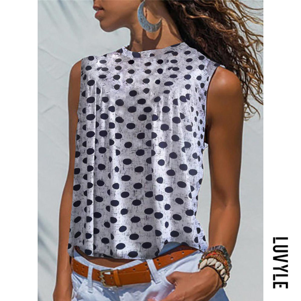 White V Neck Loose Fitting Dot Sleeveless T-Shirts White V Neck Loose Fitting Dot Sleeveless T-Shirts