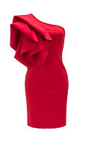 One Shoulder  Slit  Cascading Ruffles  Plain Bodycon Dresses