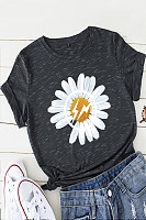 Fashion Round Neck Short Sleeve Floral T-shirt