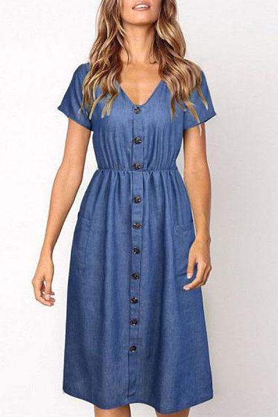 V Neck  Single Breasted  Plain  Short Sleeve Maxi Dresses