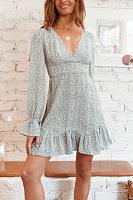 Sweet Bare Back Belted Printed Colour Ruffled Skater Dress