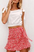 Belt Loops  Print Casual Skirts