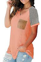 V Neck Color Block Short Sleeve T-shirt