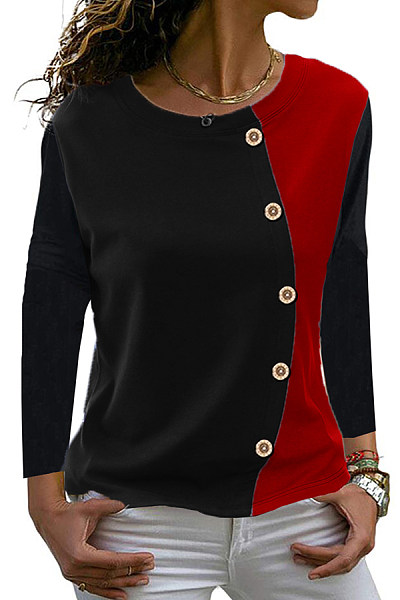 Round  Neck  Patchwork  Casual  Decorative Button  Color Block  Long Sleeve  T-Shirt