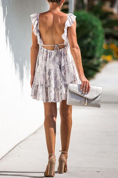 V Neck  Backless Patchwork  Cascading Ruffles  Print  Sleeveless Skater Dresses