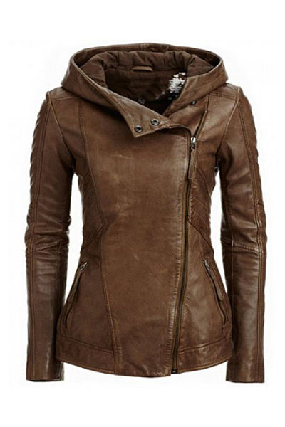 Hooded  Asymmetric Hem Zipper  Plain Jackets