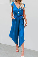 Bow Sleeveless Wide Leg V-Neck Casual Loose Jumpsuit