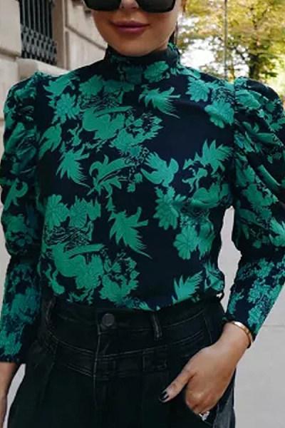Fashion print round collar shirt