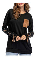 Round Neck  Drawstring Patchwork  Plain Long Sleeve T-Shirts