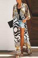 Fashion Zebra Leopard Printed Seven-Points Sleeve Cardigans