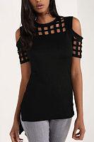Open Shoulder Round Neck  Asymmetric Hem  Hollow Out Plain T-Shirts