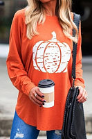 Casual Round Neck Long Sleeve Pumpkin T-Shirt