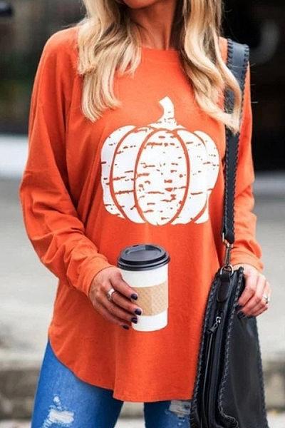 Casual Round Neck Long Sleeve Pumpkin T-Shirt