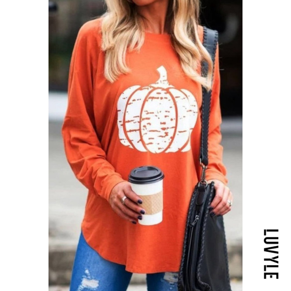 Red Casual Round Neck Long Sleeve Pumpkin T-Shirt Red Casual Round Neck Long Sleeve Pumpkin T-Shirt