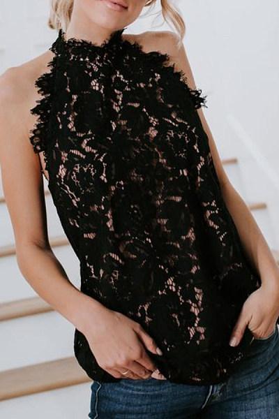 Band Collar Open Shoulder  Decorative Lace  Lace  Blouses
