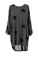 Round Neck  Asymmetric Hem Loose Fitting  Star  Three Quarter Sleeve Casual Dresses