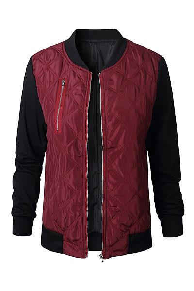 Band Collar  Patchwork Zipper Jackets