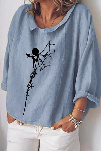 Loose printed long-sleeved top