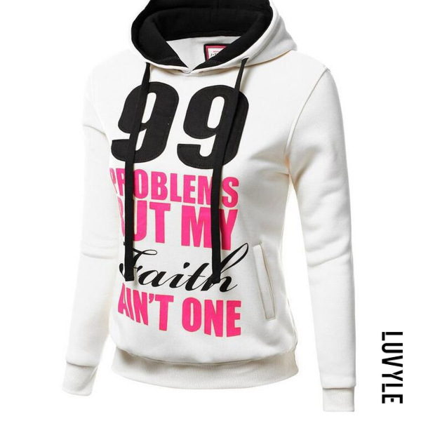 White Special Letters Printed Long Sleeve Hoodie White Special Letters Printed Long Sleeve Hoodie